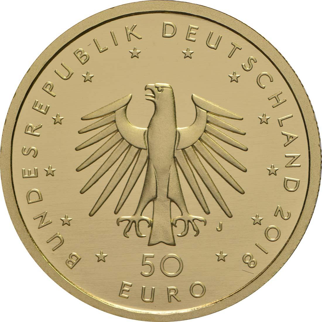 Rückseite:Deutschland : 50 Euro Kontrabass Komplettsatz ADFGJ 5 Münzen  2018 Stgl.