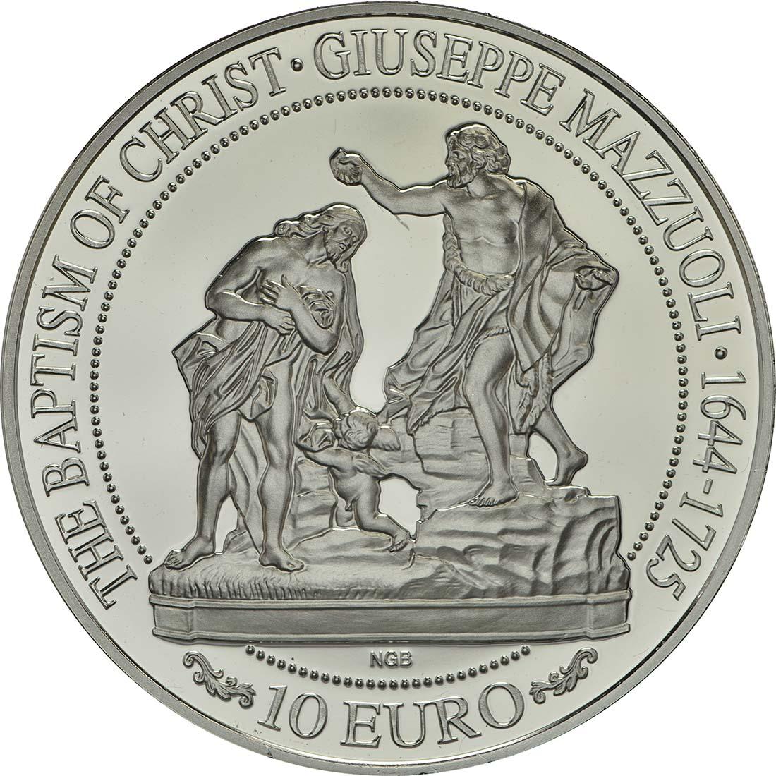 Vorderseite:Malta : 10 Euro Taufe Christi  2018 PP