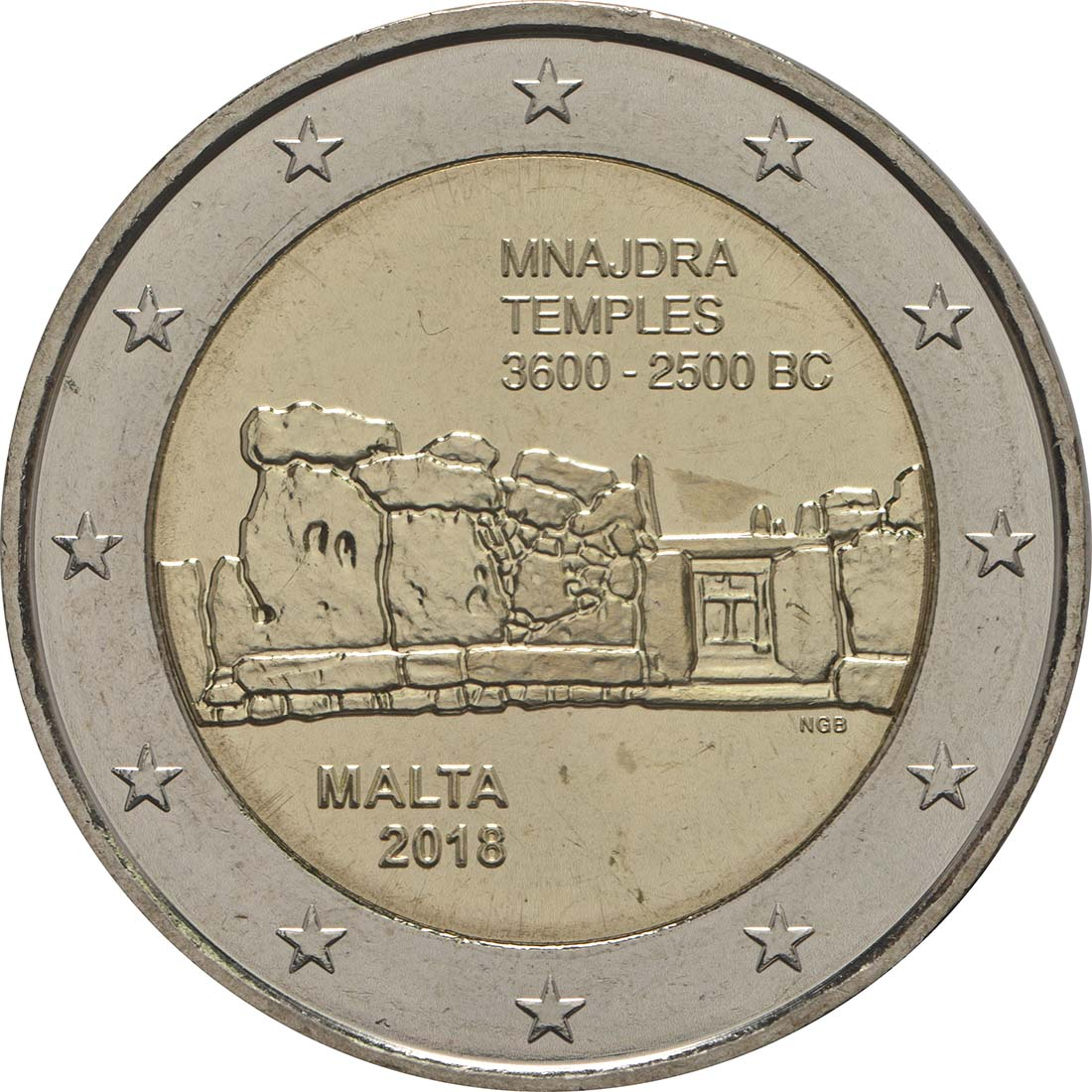 Rückseite:Malta : 2 Euro Mnajdra  2018 bfr