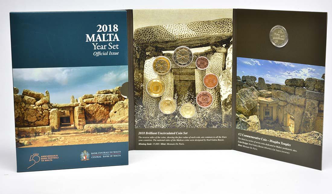 Lieferumfang:Malta : 5,88 Euro KMS Malta mit 2 Euro Gedenkmünze Mnajdra  2018 Stgl.