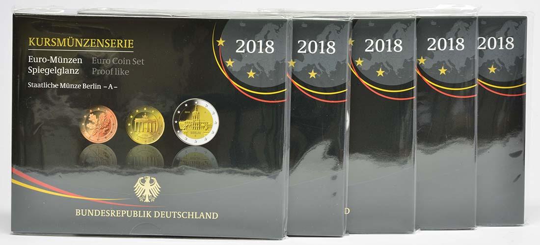 Deutschland : 29,4 Euro KMS Deutschland mit zusätzlicher Gedenkmünze komplett A-J  2018 PP