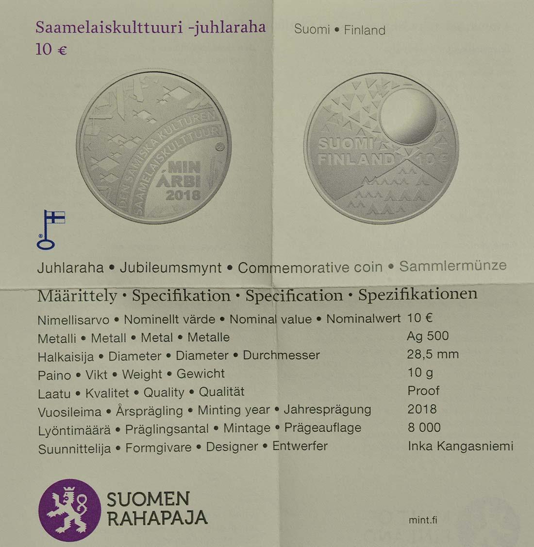 Zertifikat :Finnland : 10 Euro Samische Kultur  2018 PP