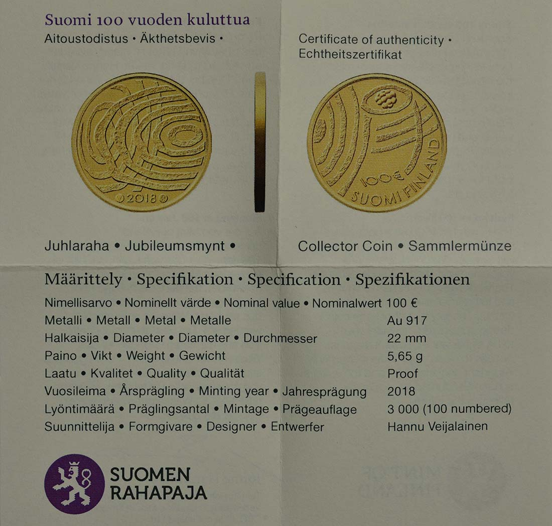 Zertifikat:Finnland : 100 Euro 100 Jahre Finnland  2018 PP