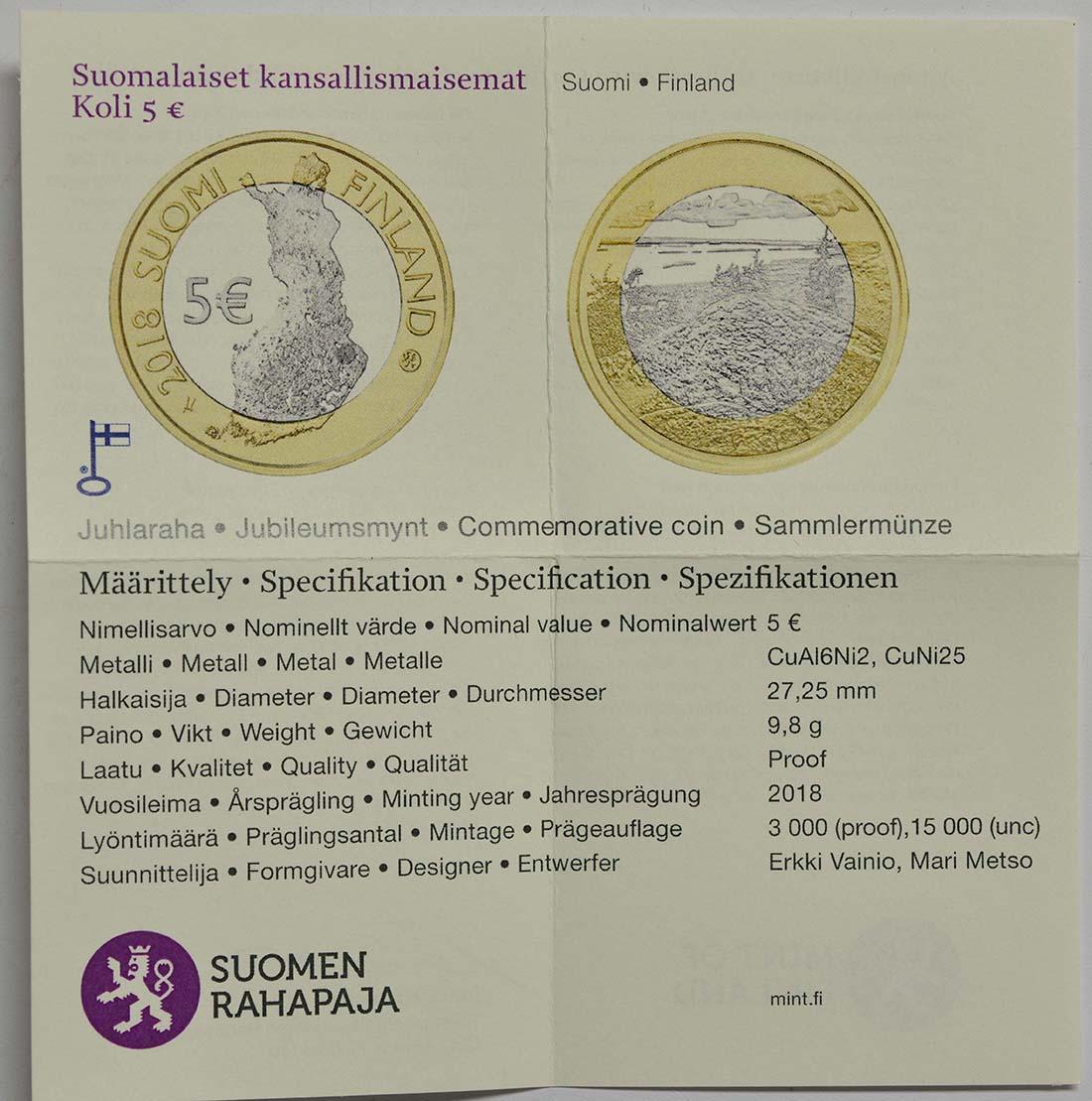 Zertifikat:Finnland : 5 Euro Koli National Park  2018 PP