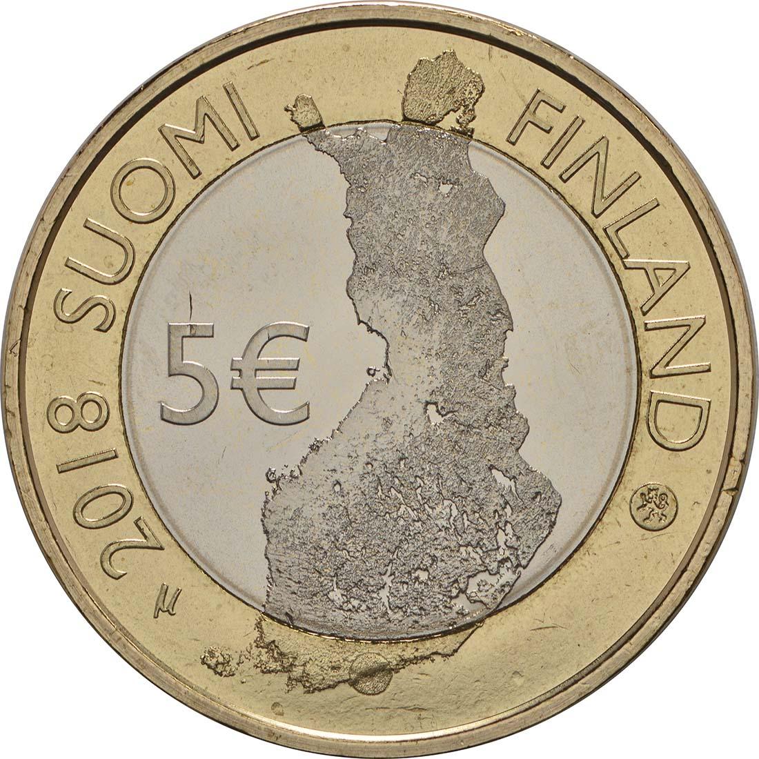 Rückseite:Finnland : 5 Euro Maritimes Helsinki  2018 bfr