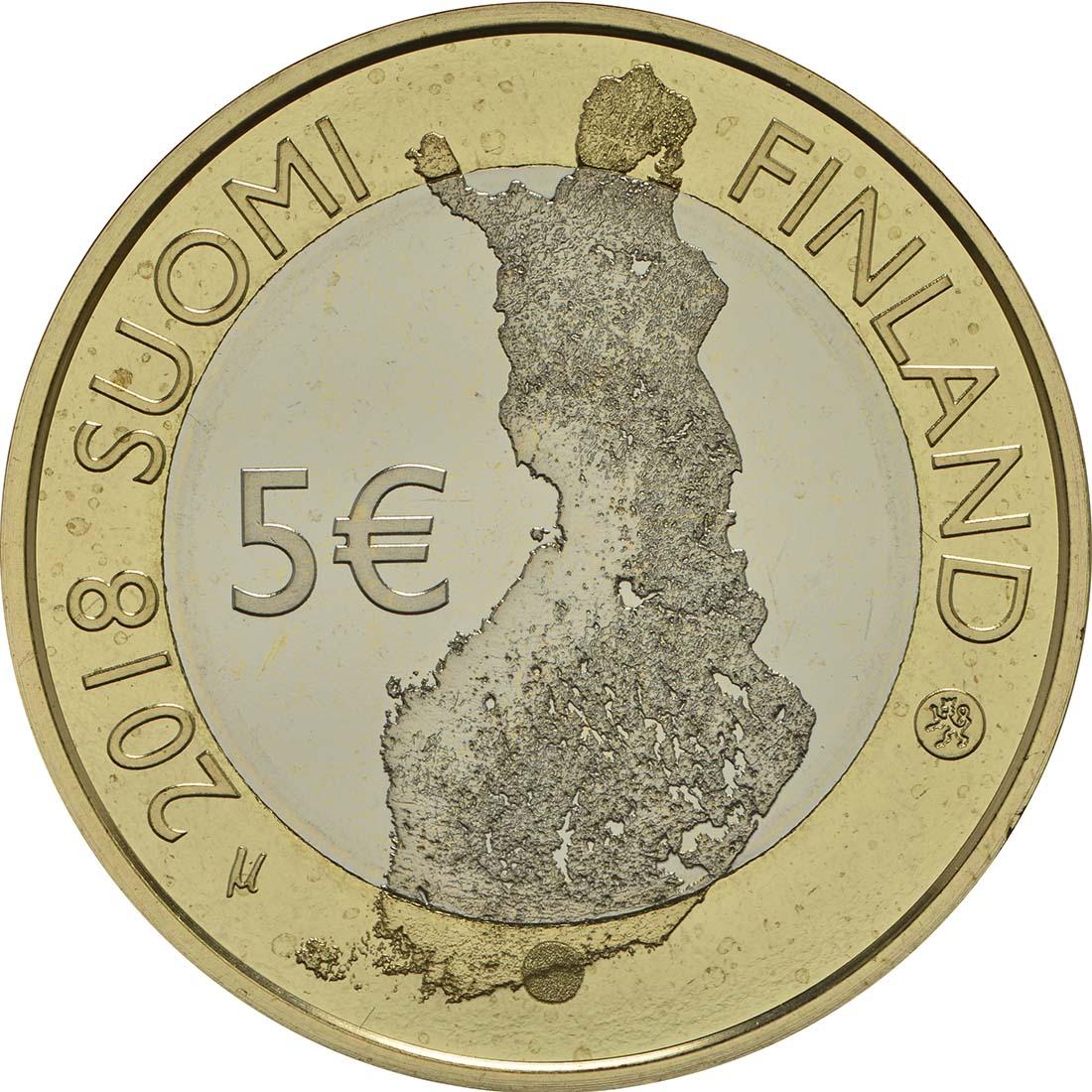 Rückseite:Finnland : 5 Euro Maritimes Helsinki  2018 PP