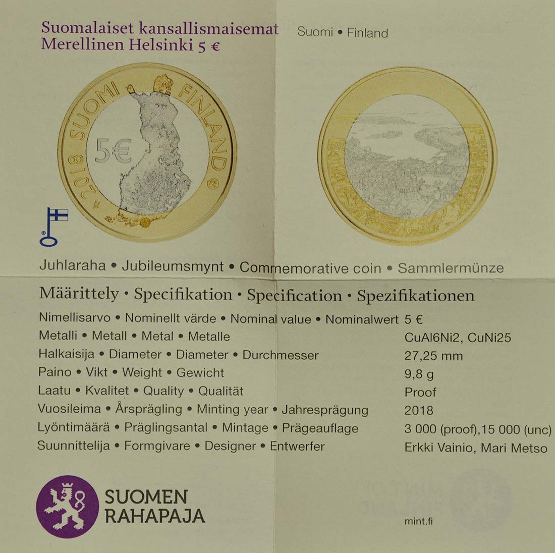 Zertifikat :Finnland : 5 Euro Maritimes Helsinki  2018 PP