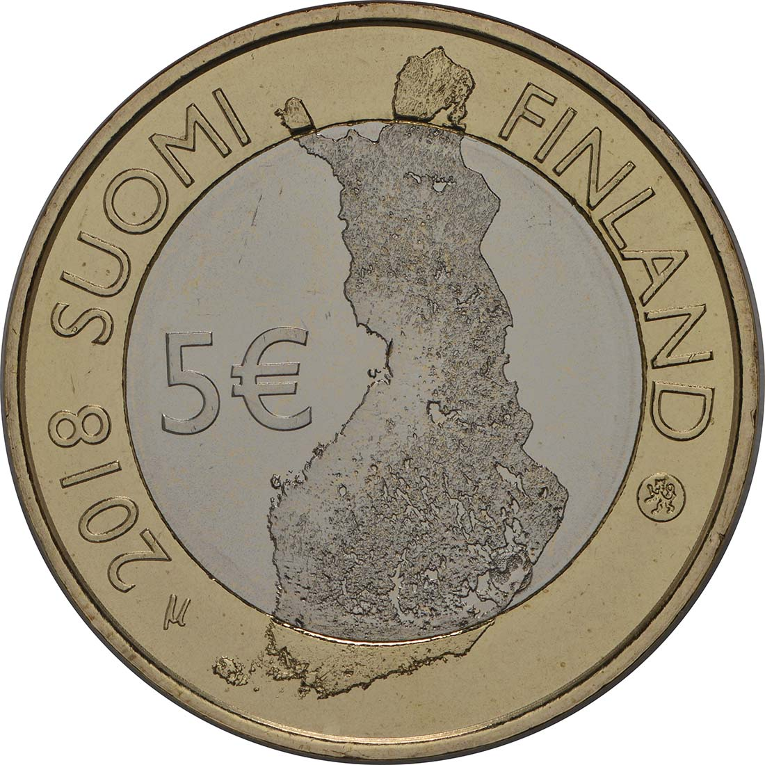Rückseite:Finnland : 5 Euro Punkaharju-Grat  2018 bfr