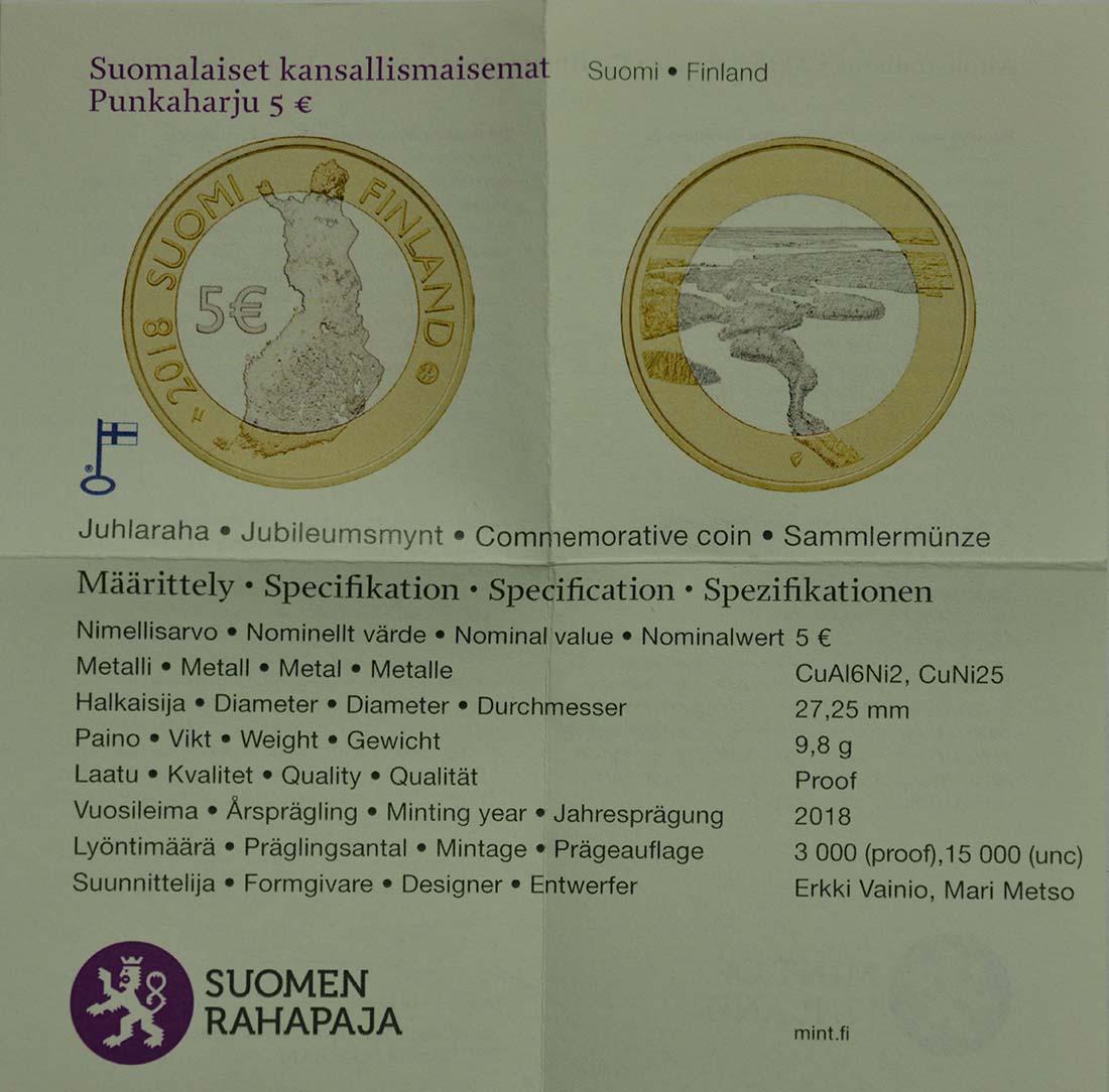 Zertifikat:Finnland : 5 Euro Punkaharju-Grat  2018 PP