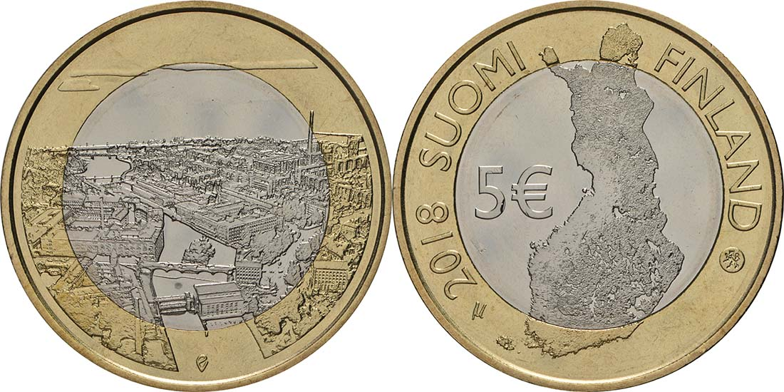 Übersicht:Finnland : 5 Euro Tammerkoski-Stromschnellen  2018 bfr