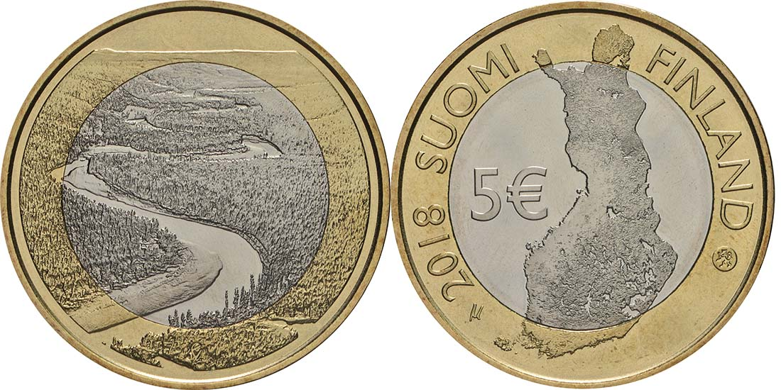 Lieferumfang:Finnland : 5 Euro Fluss Oulankajoki  2018 bfr