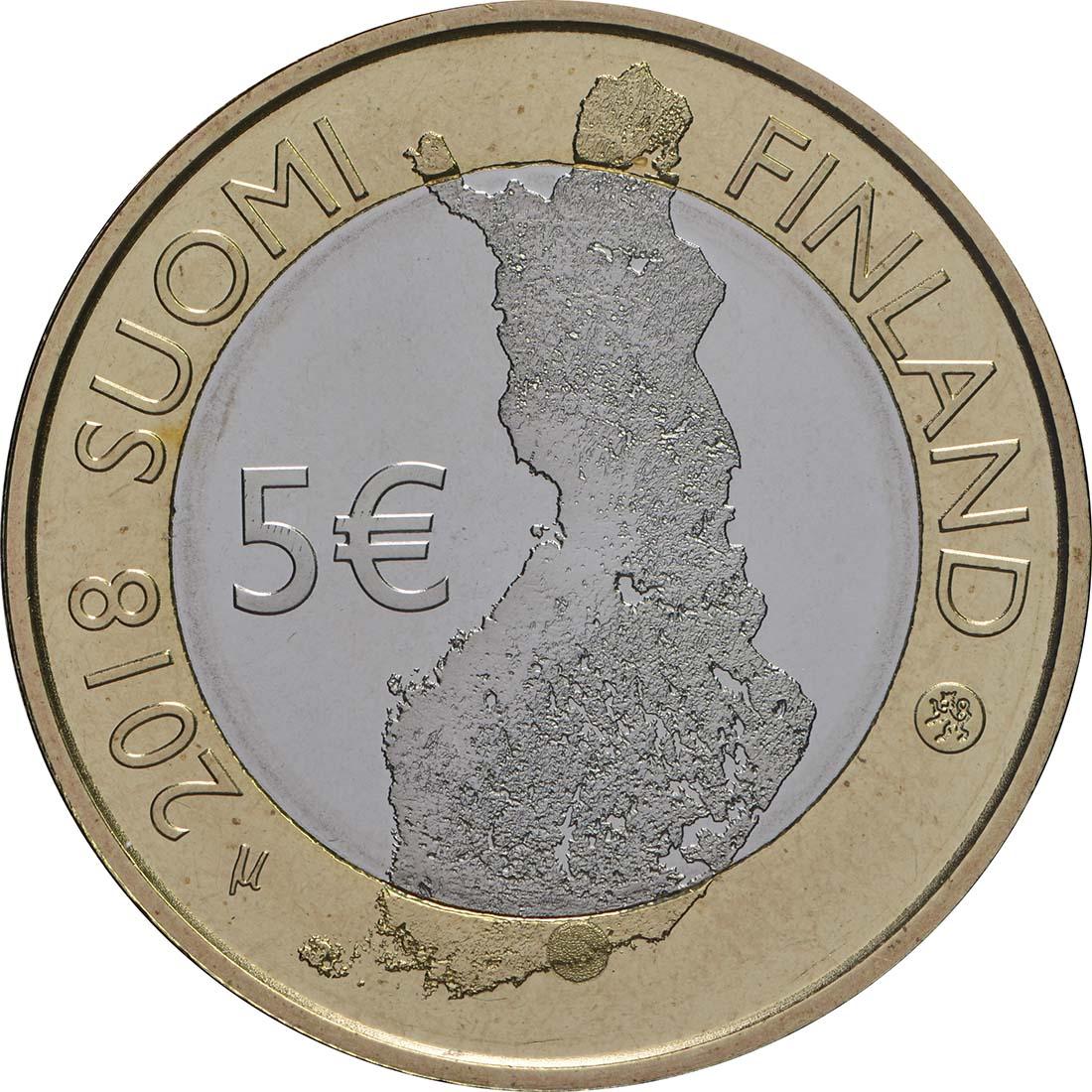 Rückseite:Finnland : 5 Euro Fluss Porvoonjoki  2018 PP