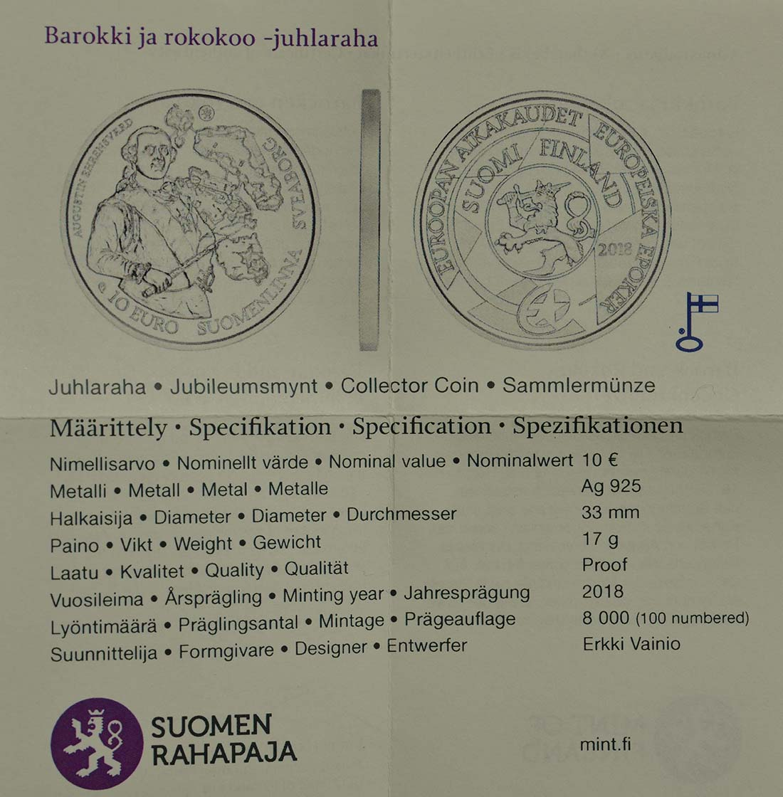 Zertifikat :Finnland : 10 Euro Barock und Rokoko  2018 PP