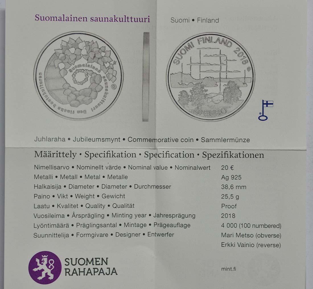 Zertifikat:Finnland : 20 Euro finnische Saunakultur  2018 PP