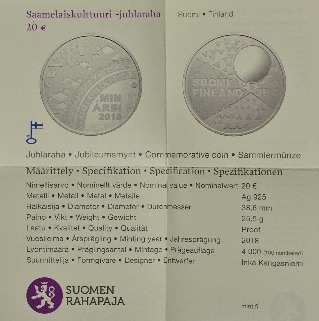 Zertifikat :Finnland : 20 Euro Samische Kultur  2018 PP