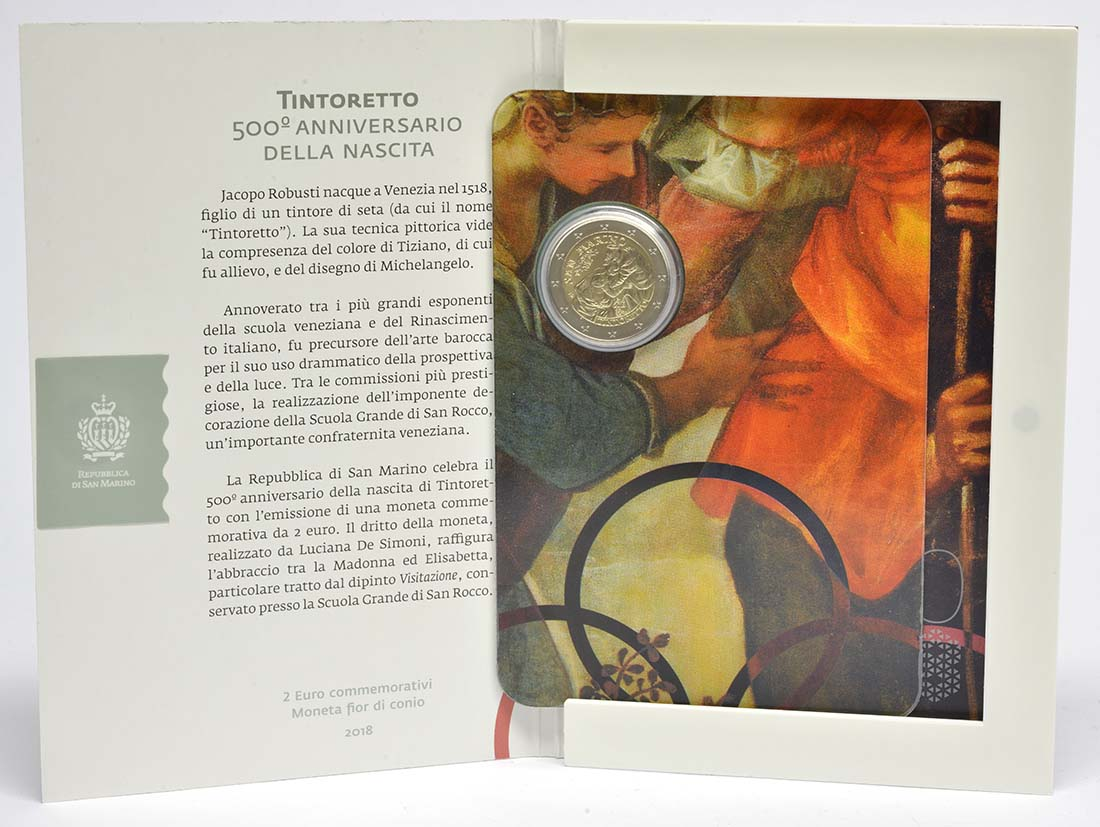 Lieferumfang:San Marino : 2 Euro 500. Jahrestag der Geburt von Tintoretto  2018 Stgl.