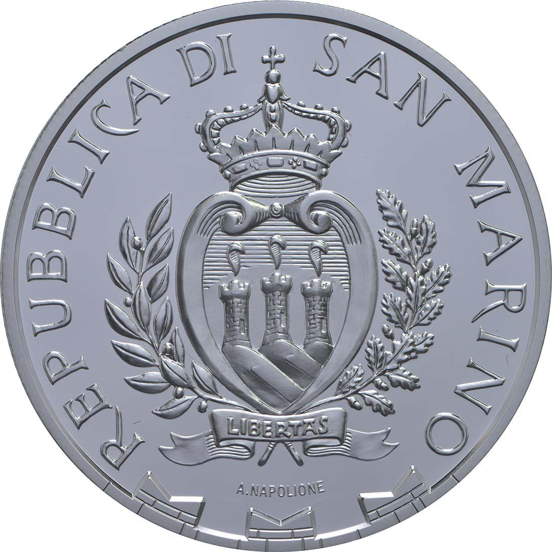 Rückseite:San Marino : 5 Euro 250. Jahrestag des Todes von Canaletto  2018 PP