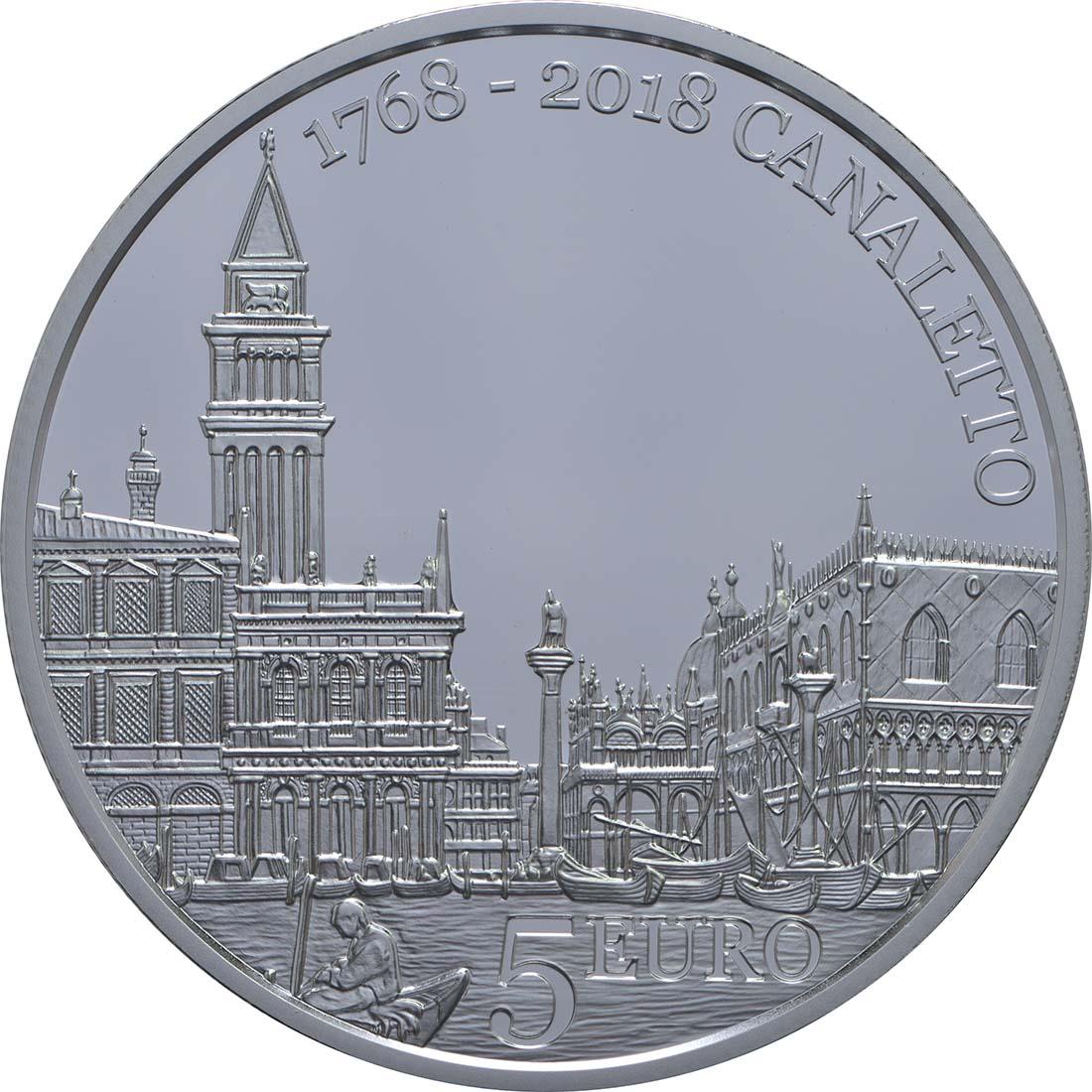 Vorderseite:San Marino : 5 Euro 250. Jahrestag des Todes von Canaletto  2018 PP