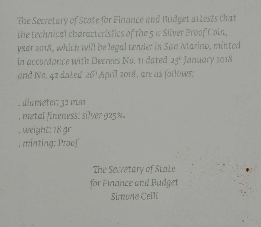 Zertifikat:San Marino : 5 Euro 250. Jahrestag des Todes von Canaletto  2018 PP