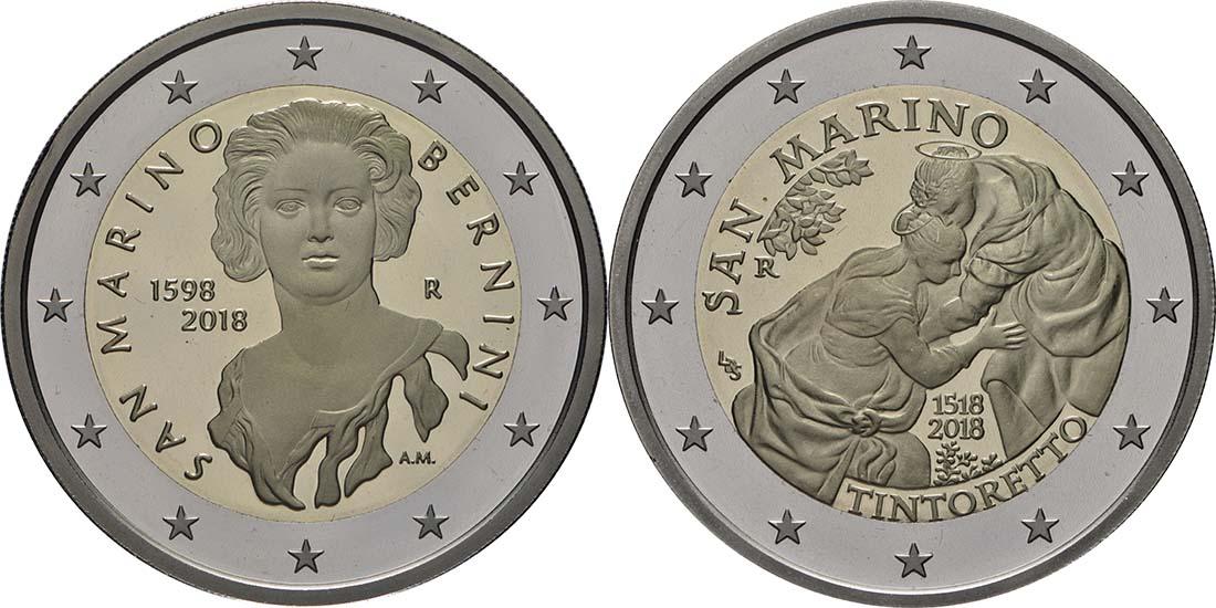 Rückseite:San Marino : 7,88 Euro KMS San Marino mit beiden 2 Euro Gedenkmünzen Bernini und Tintoretto  2018 PP