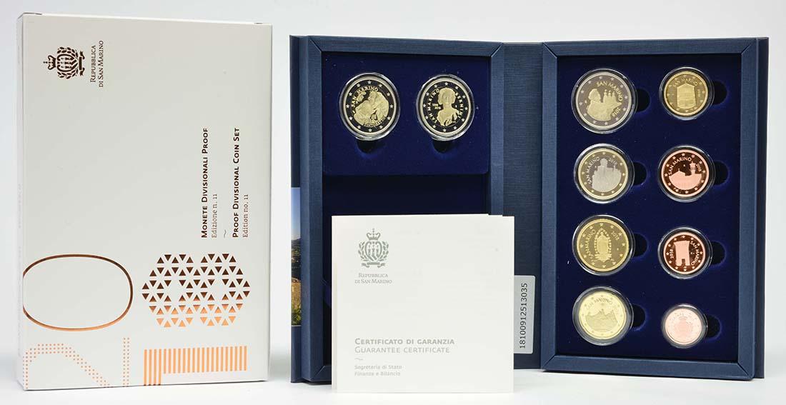 Lieferumfang:San Marino : 7,88 Euro KMS San Marino mit beiden 2 Euro Gedenkmünzen Bernini und Tintoretto  2018 PP
