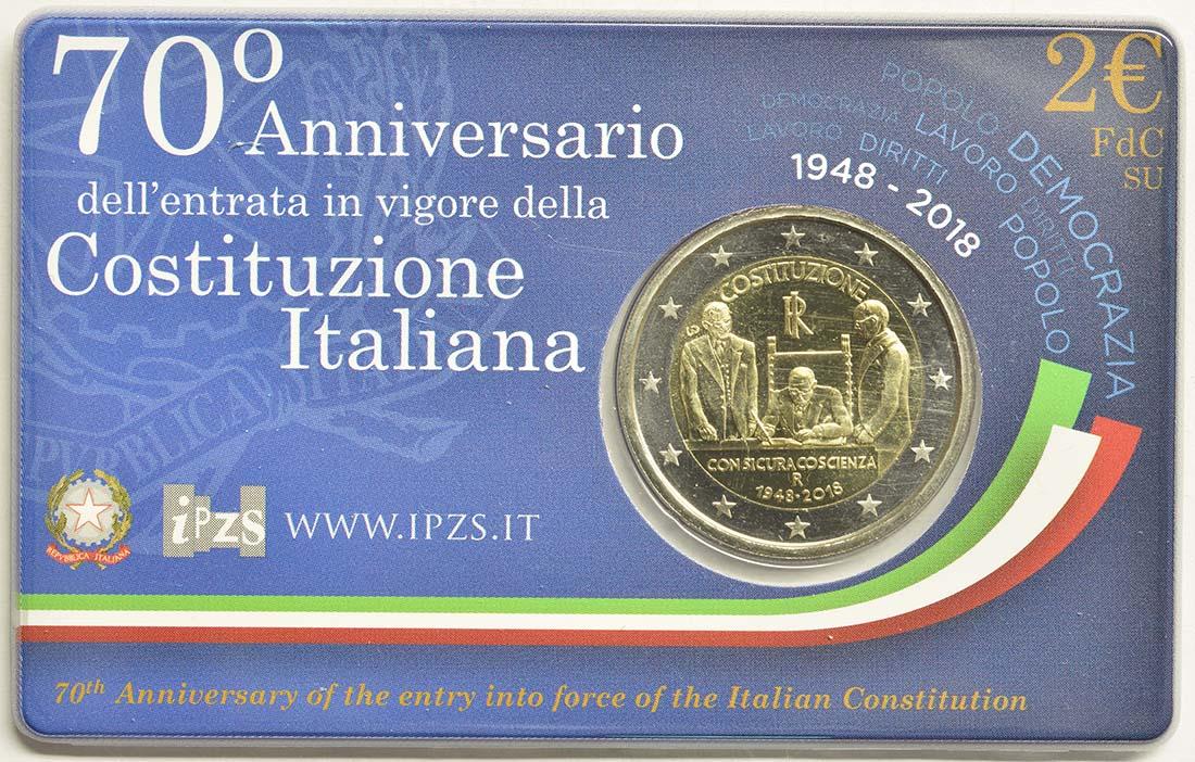 Rückseite:Italien : 2 Euro 70 Jahre Verfassung Italiens  2018 Stgl.