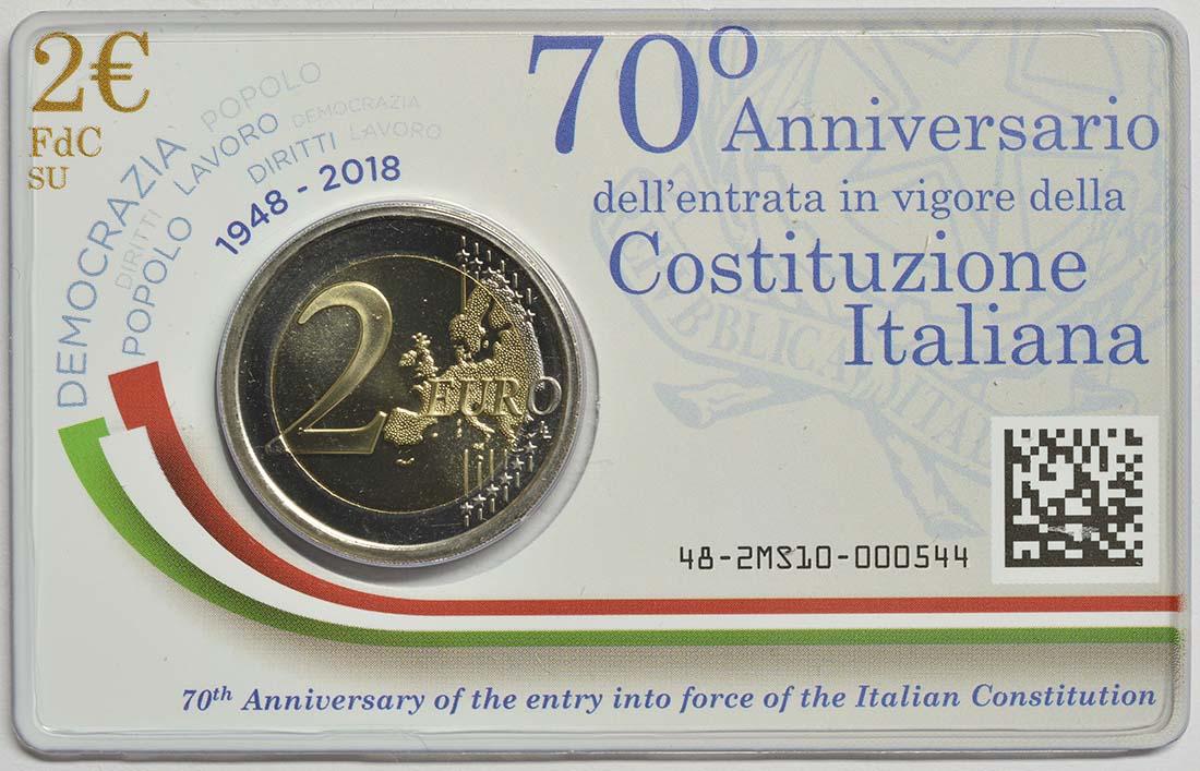 Lieferumfang:Italien : 2 Euro 70 Jahre Verfassung Italiens  2018 Stgl.