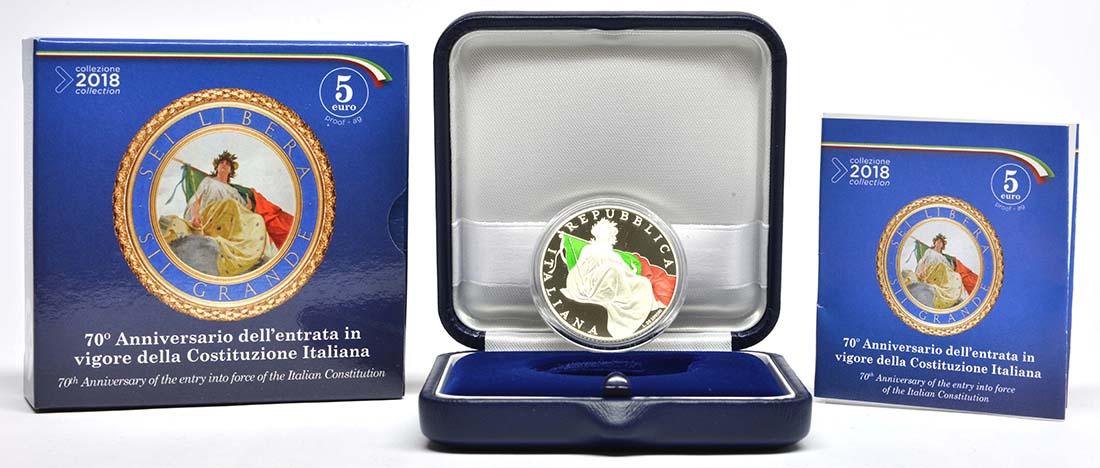Italien : 5 Euro 70 Jahre Verfassung Italiens - farbig  2018 PP