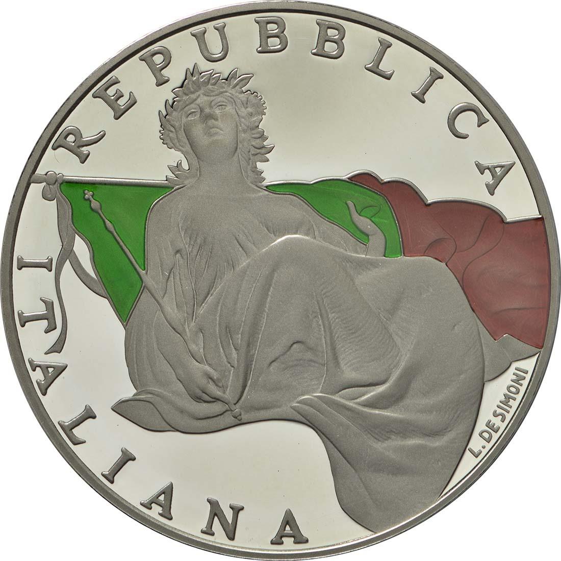 Vorderseite :Italien : 5 Euro 70 Jahre Verfassung Italiens - farbig  2018 PP