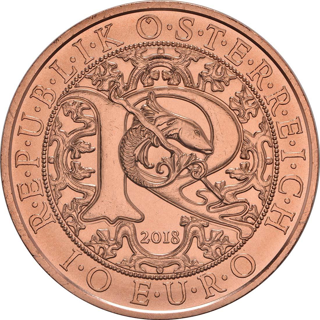 Rückseite:Österreich : 10 Euro Raphael - der Heilungsengel  2018 Stgl.