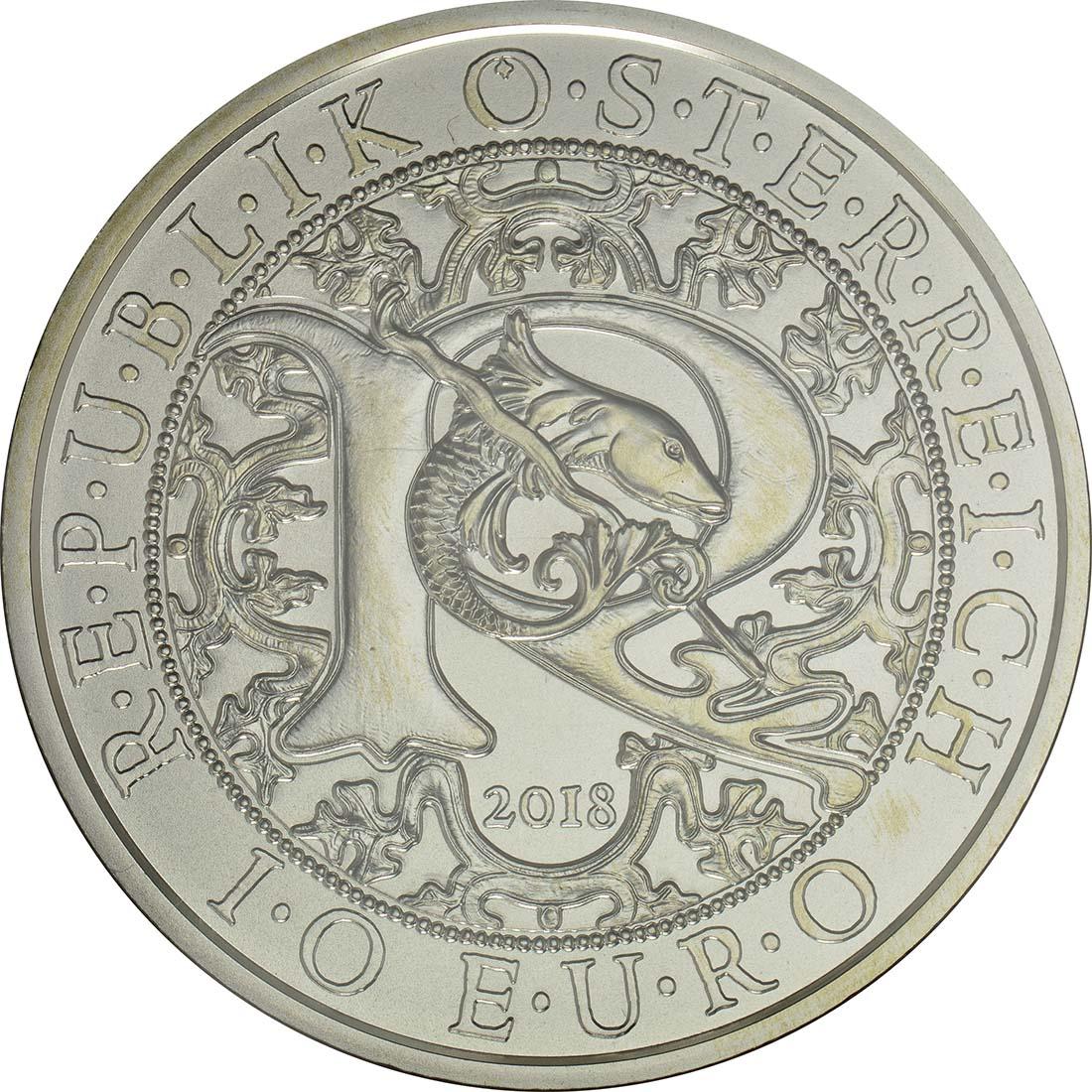 Rückseite :Österreich : 10 Euro Raphael - der Heilungsengel  2018 Stgl.