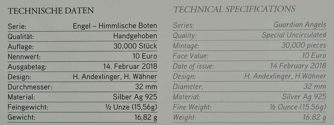 Zertifikat :Österreich : 10 Euro Raphael - der Heilungsengel  2018 Stgl.