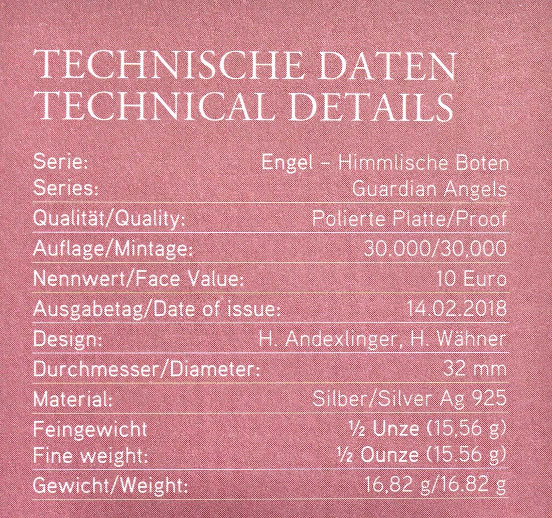 Zertifikat:Österreich : 10 Euro Raphael - der Heilungsengel  2018 PP