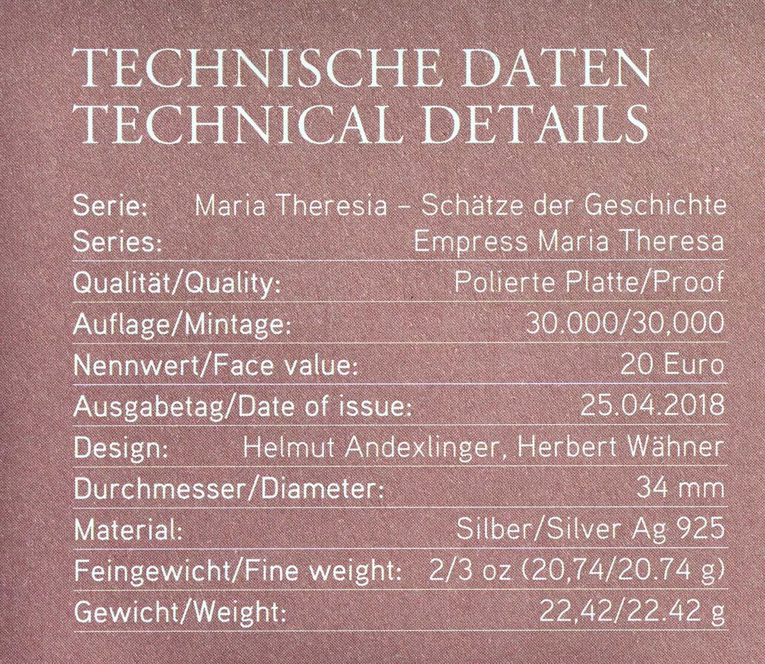 Zertifikat:Österreich : 20 Euro Milde und Gottvertrauen  2018 PP