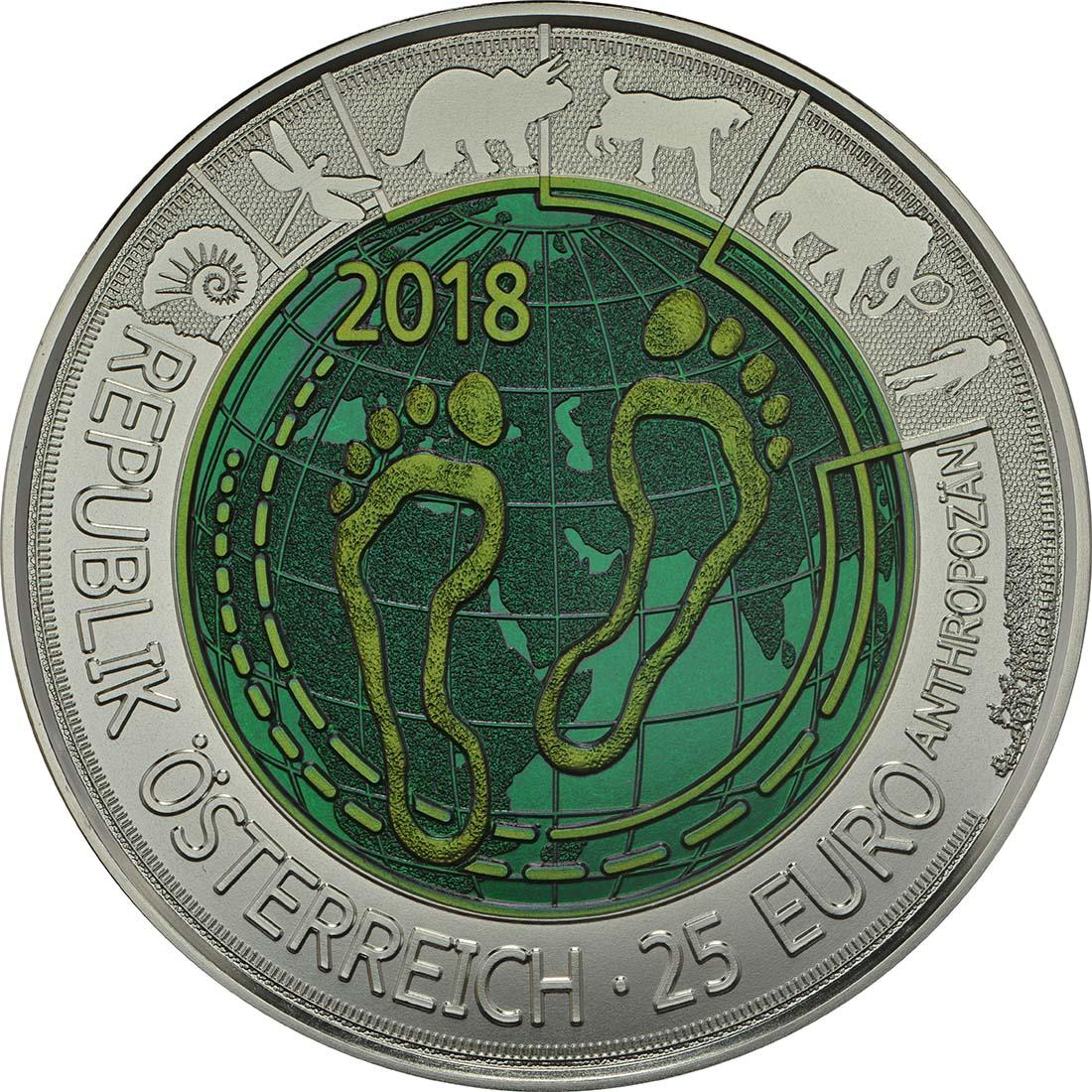 Rückseite :Österreich : 25 Euro Anthropozän  2018 Stgl.