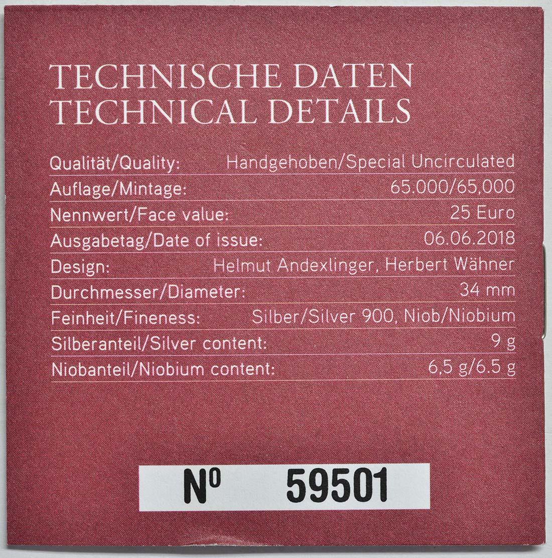 Zertifikat :Österreich : 25 Euro Anthropozän  2018 Stgl.