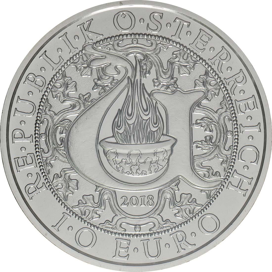 Rückseite:Österreich : 10 Euro Uriel - der Lichtengel  2018 Stgl.