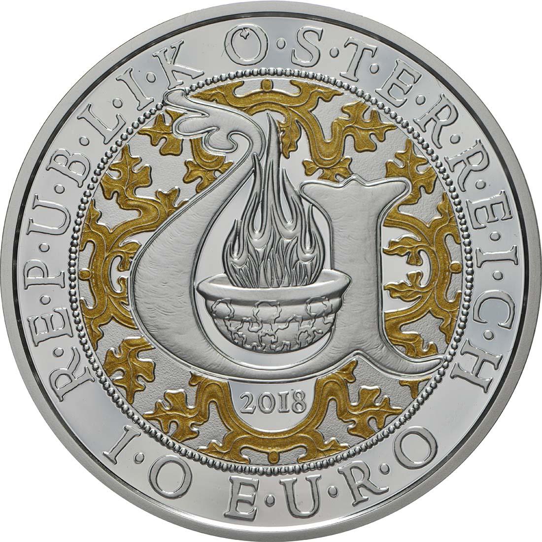 Rückseite:Österreich : 10 Euro Uriel - der Lichtengel  2018 PP