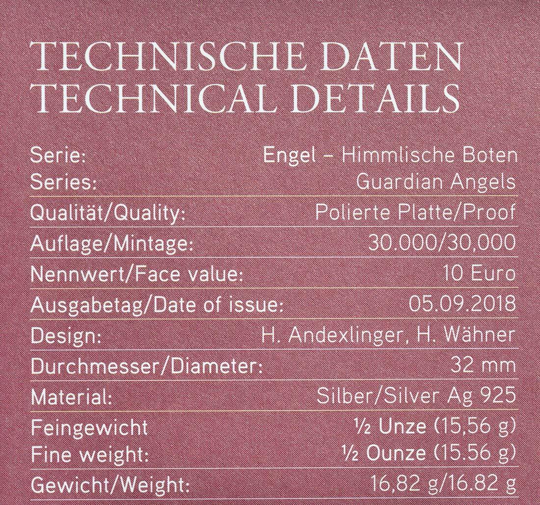 Zertifikat:Österreich : 10 Euro Uriel - der Lichtengel  2018 PP