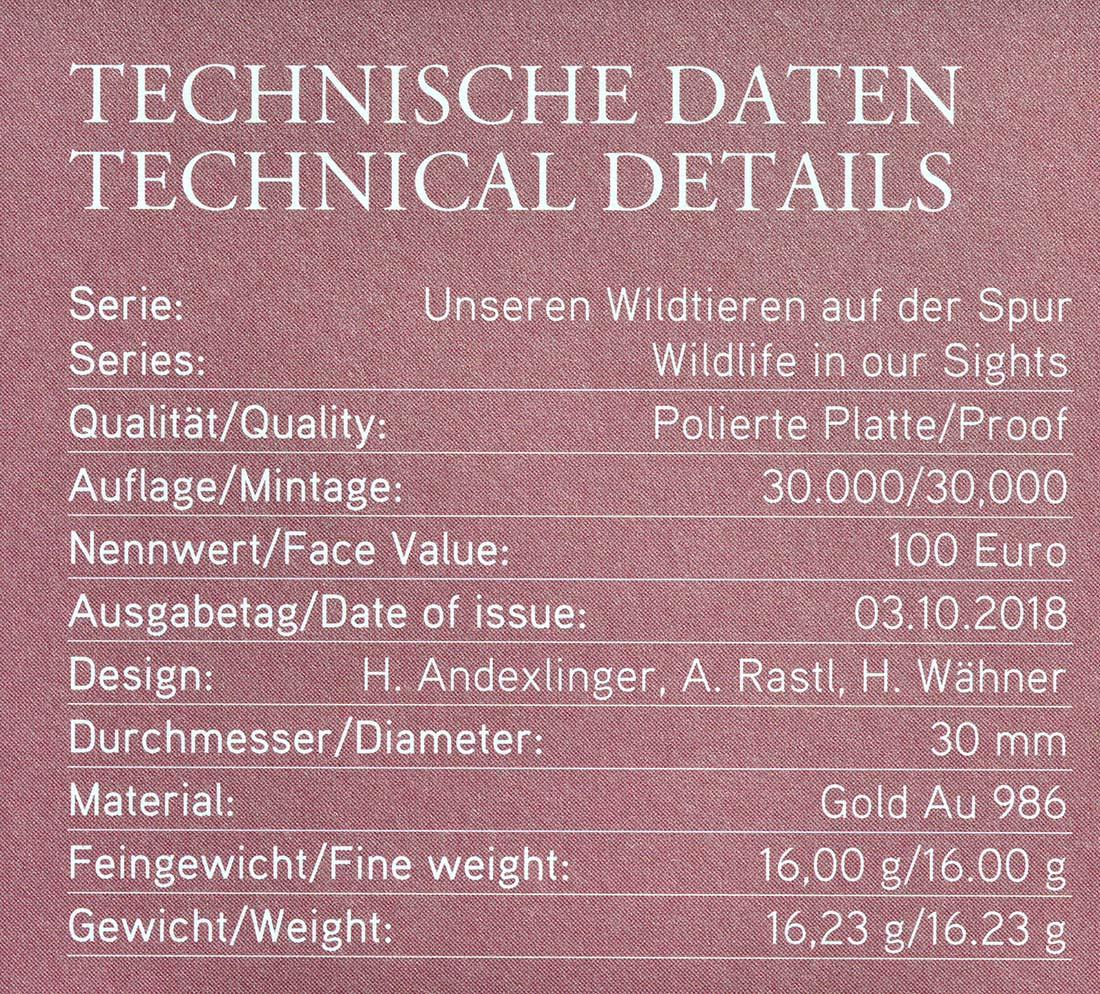 Zertifikat:Österreich : 100 Euro Stockente  2018 PP