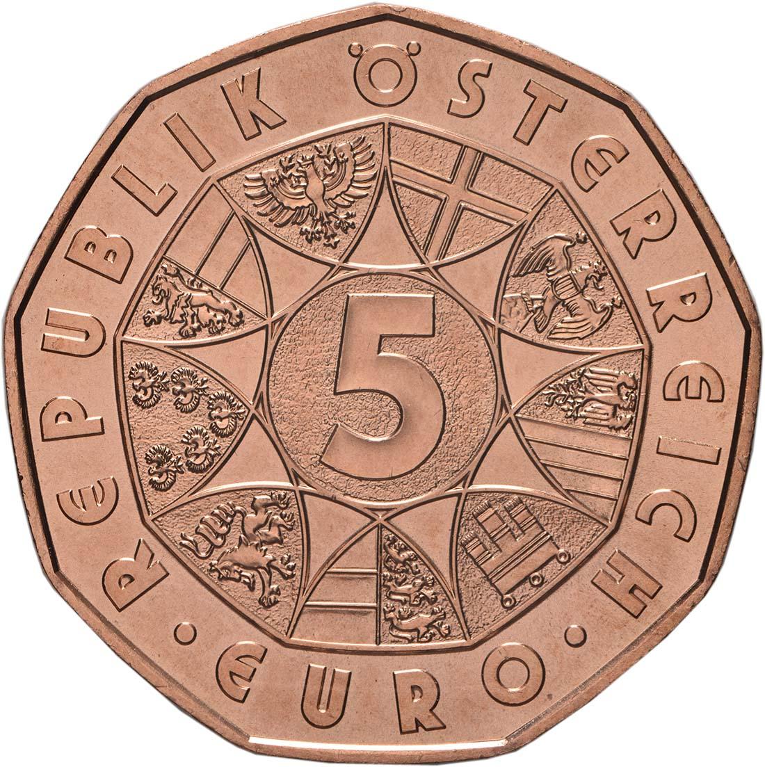Rückseite:Österreich : 5 Euro Neujahrsmünze - Lebensfreude  2019 bfr