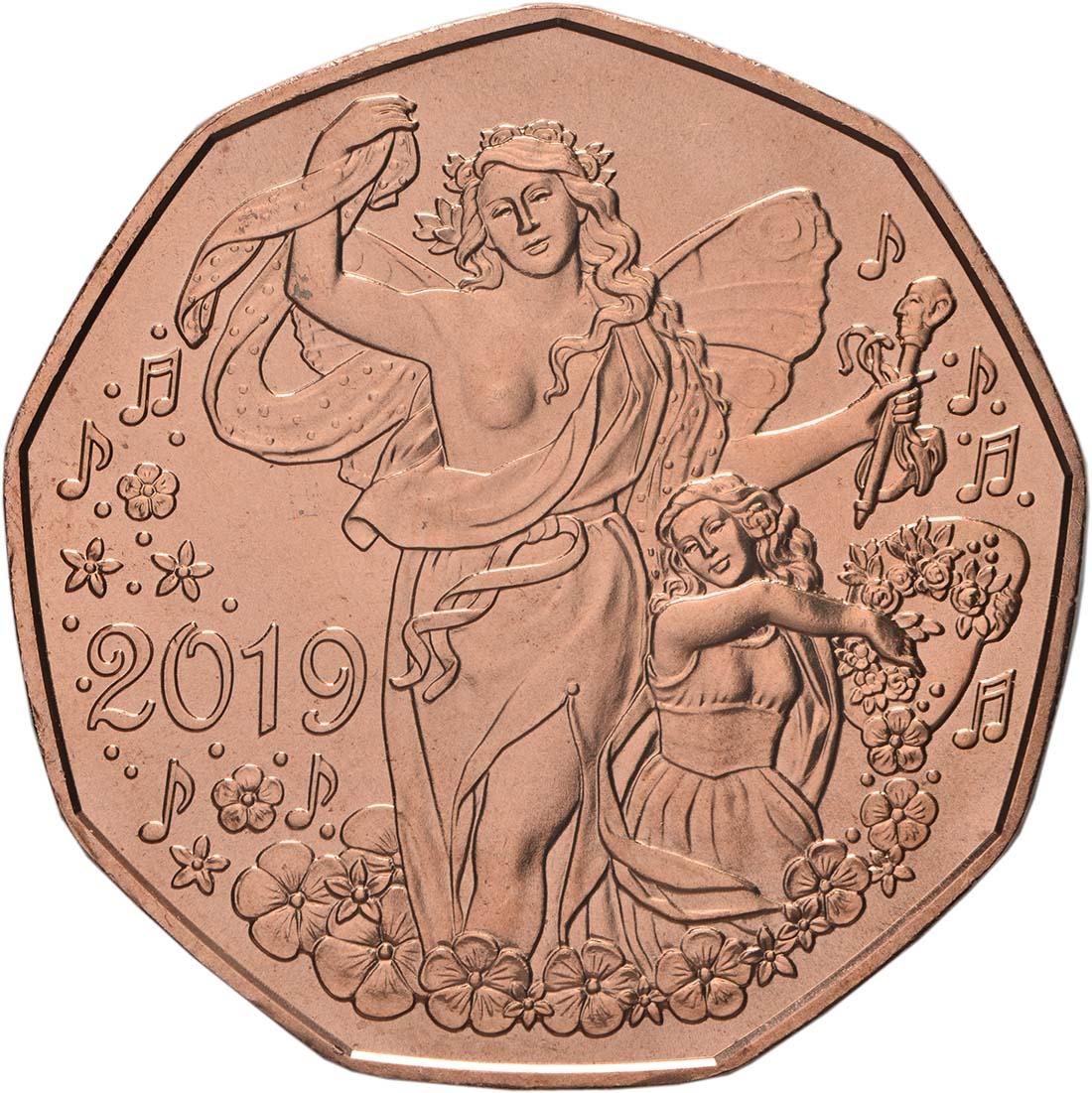 Vorderseite:Österreich : 5 Euro Neujahrsmünze - Lebensfreude  2019 bfr