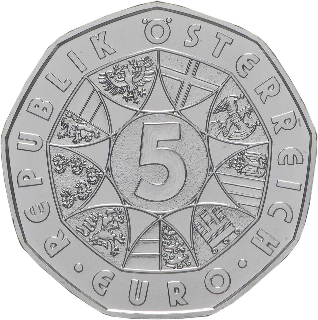 Rückseite:Österreich : 5 Euro Neujahrsmünze - Lebensfreude  2019 Stgl.