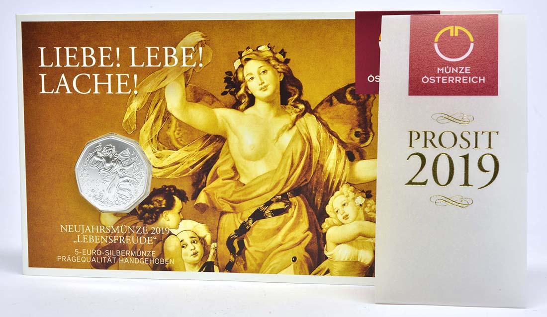 Lieferumfang:Österreich : 5 Euro Neujahrsmünze - Lebensfreude  2019 Stgl.