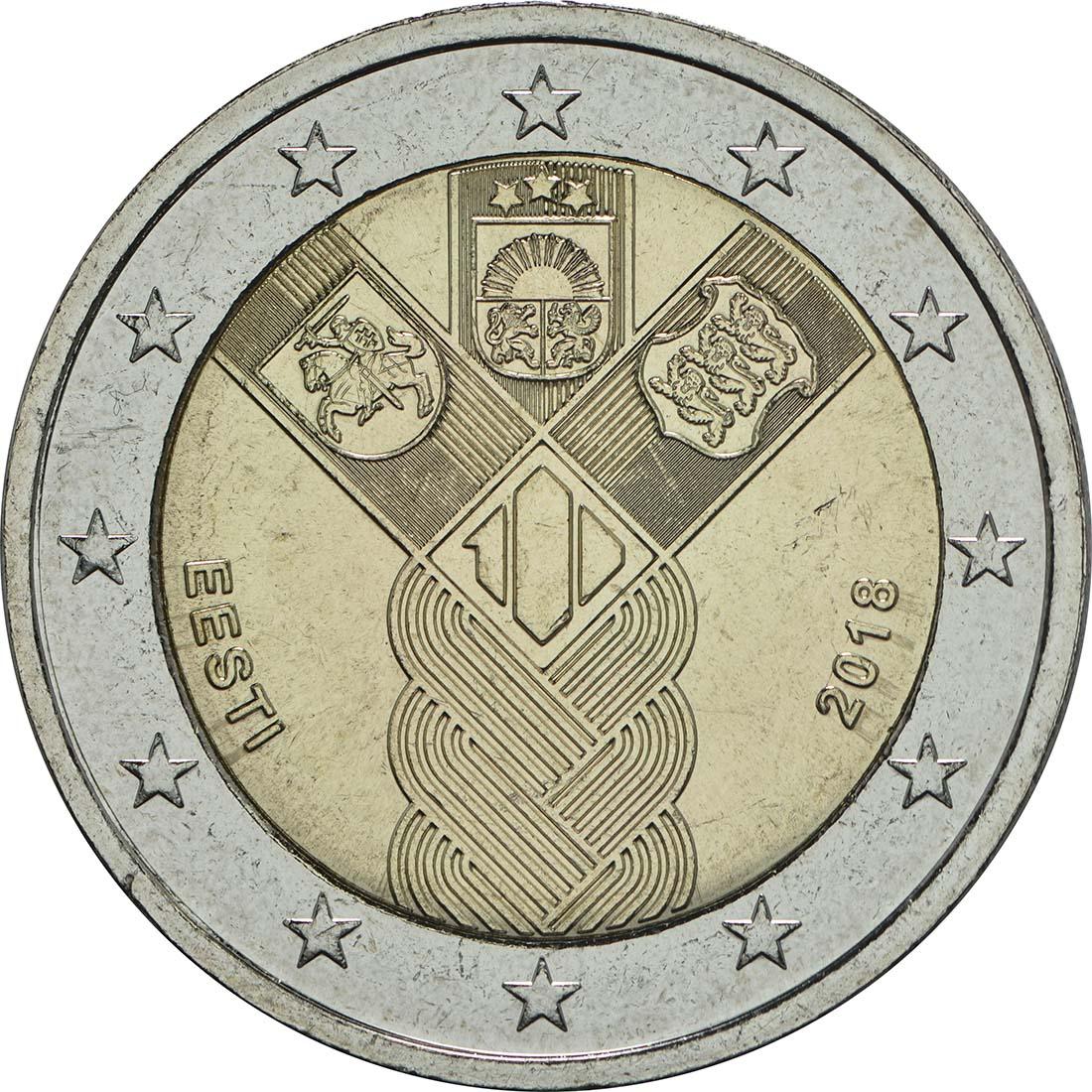 Rückseite :Estland : 2 Euro 100 Jahre Unabhängigkeit  2018 bfr