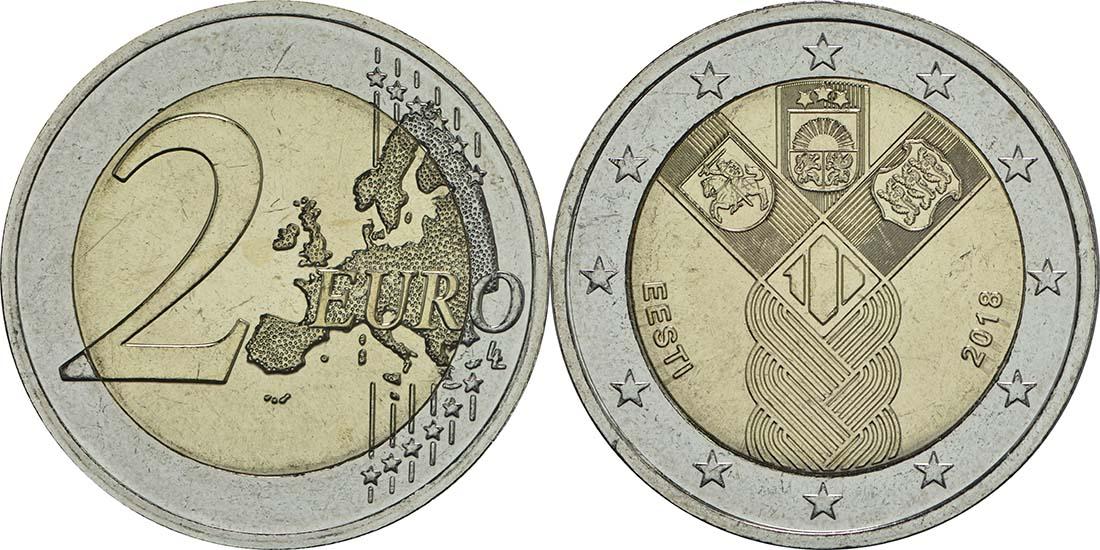 Estland : 2 Euro 100 Jahre Unabhängigkeit  2018 bfr