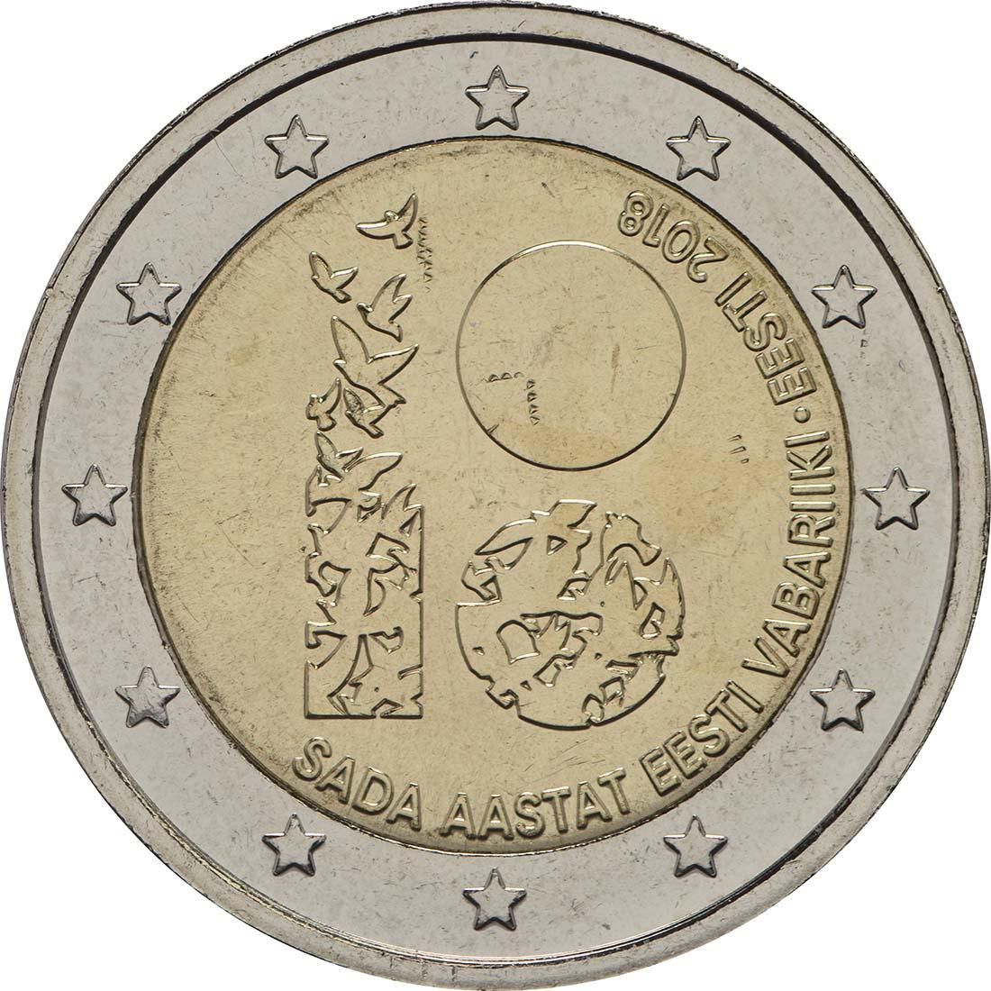 Rückseite :Estland : 2 Euro 100 Jahre Republik Estland  2018 bfr