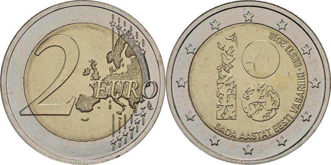 Lieferumfang:Estland : 2 Euro 100 Jahre Republik Estland  2018 bfr