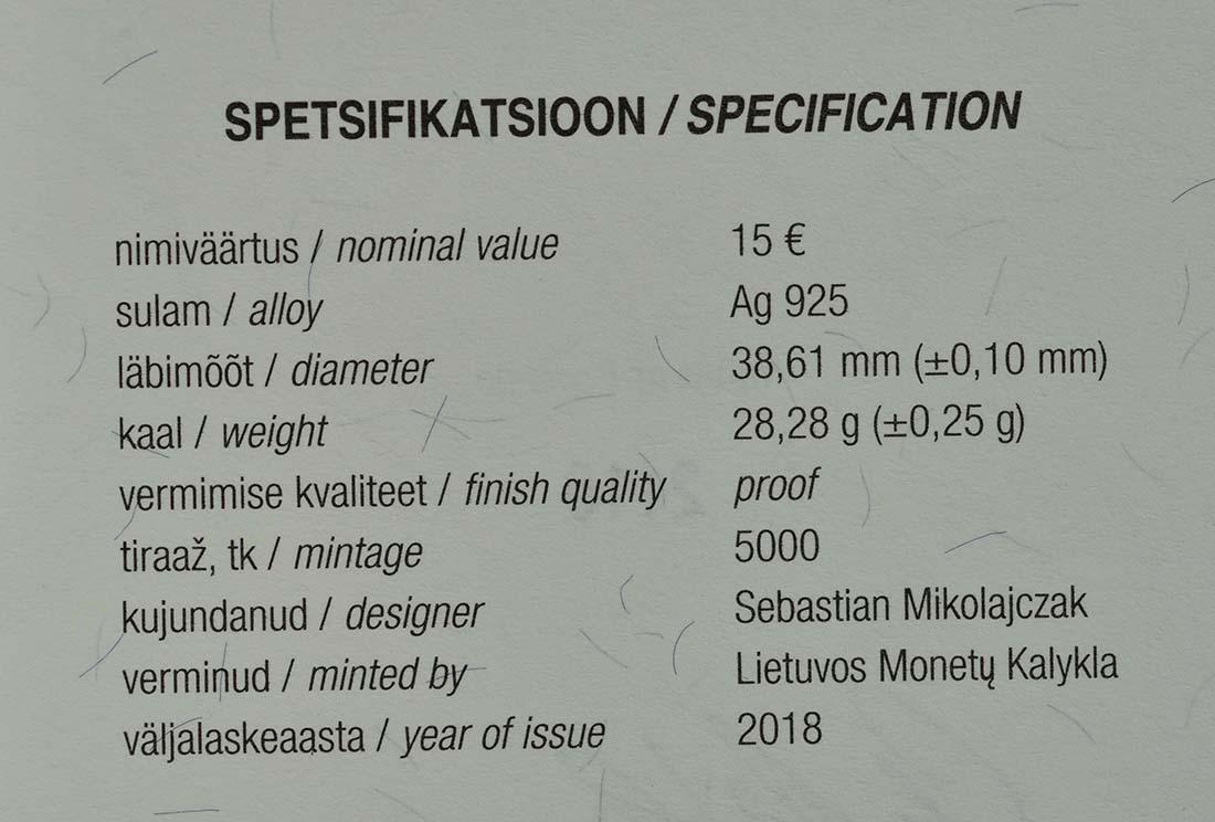 Zertifikat:Estland : 15 Euro Jaan Tönisson  2018 PP