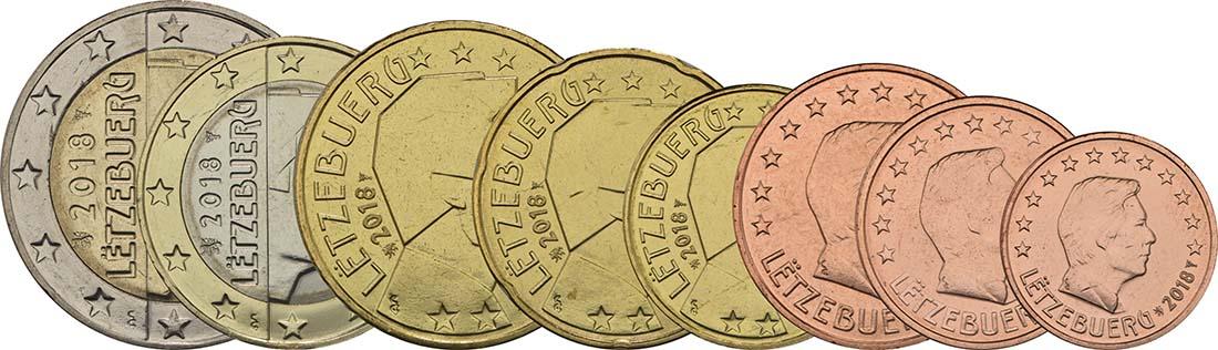 Rückseite :Luxemburg : 3,88 Euro 1+2+5+10+20+50 Cent+1 Euro+2 Euro  2018 bfr